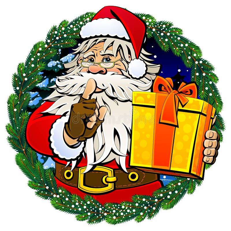 Bande dessinée Santa Claus avec un cadeau image stock
