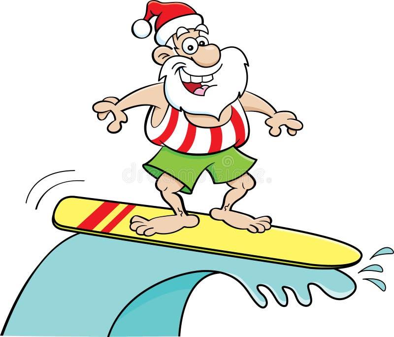 Bande dessinée Santa Claus montant une planche de surf illustration de vecteur