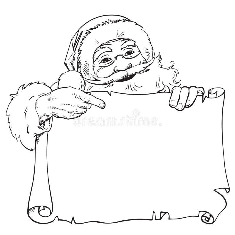 Bande dessinée Santa Claus se dirigeant pour masquer, rouleau vide avec l'endroit pour le texte Cru Santa piaulant par derrière l illustration de vecteur