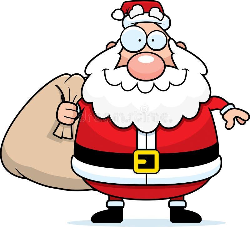 Bande dessinée Santa Claus Toy Bag illustration de vecteur