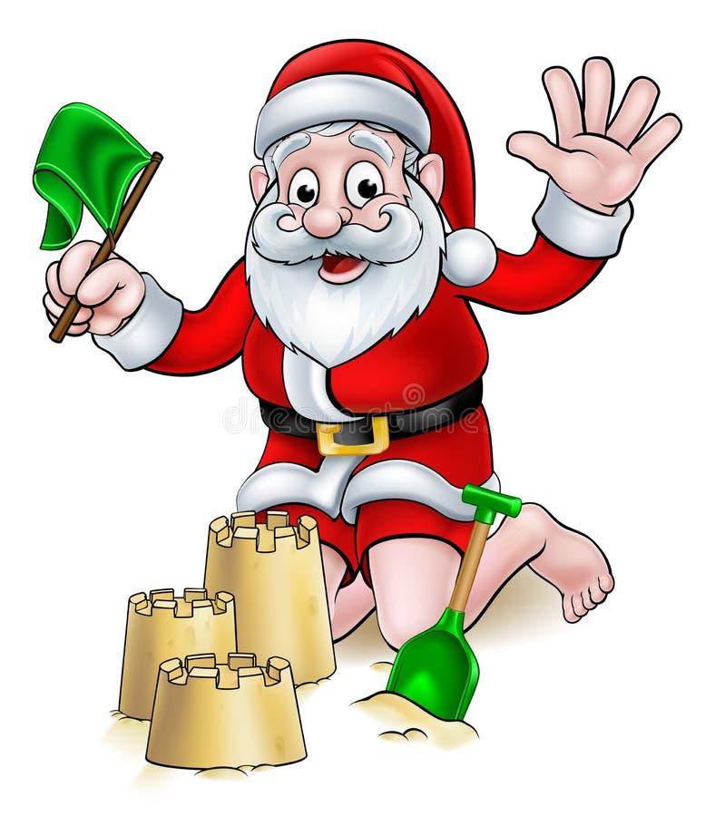 Bande dessinée Santa de Noël sur la plage illustration de vecteur