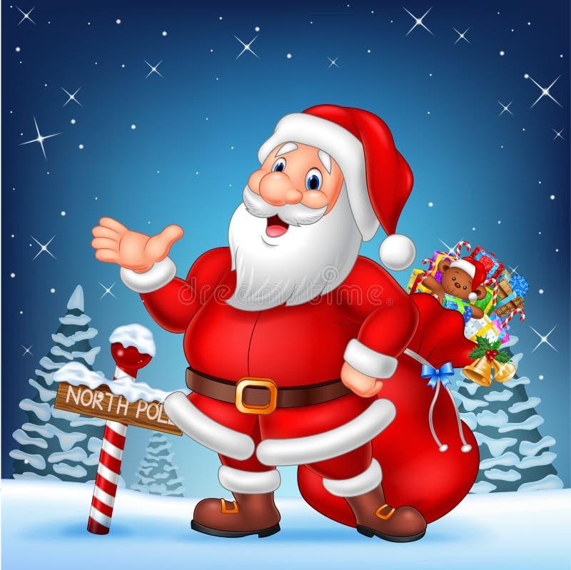 Bande dessinée Santa drôle présentant avec un signe en bois de Pôle Nord illustration de vecteur