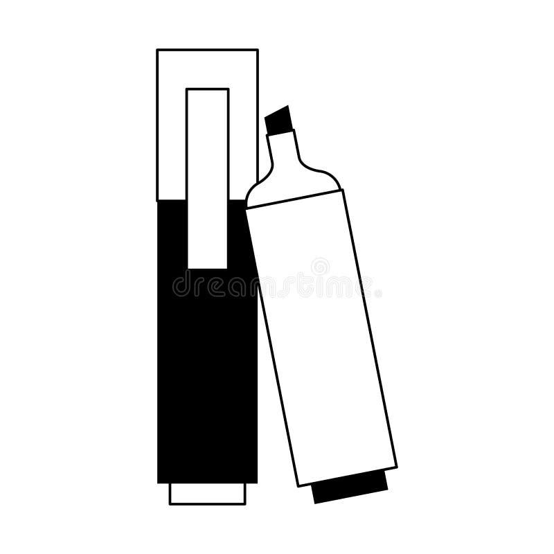 Bande dessinée scolaire d'élément d'école de bureau en noir et blanc illustration de vecteur