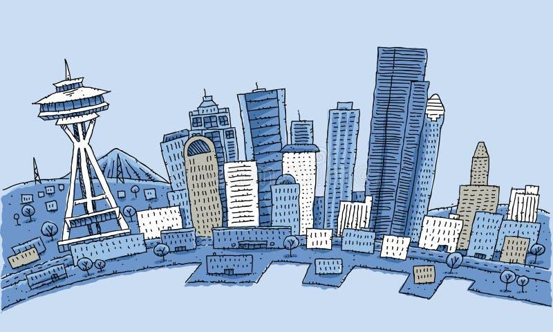 Bande dessinée SeattleCartoon Seattle illustration de vecteur
