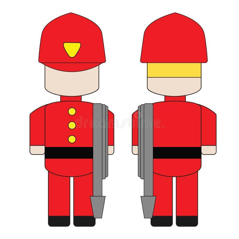 Bande dessinée simple mignonne d'un pompier illustration de vecteur