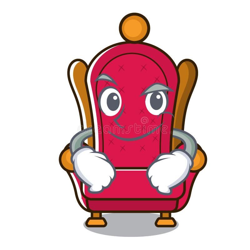 Bande dessinée souriante d'un air affecté de caractère de trône de roi illustration de vecteur