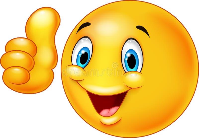Bande dessinée souriante heureuse d'émoticône renonçant à des pouces illustration de vecteur