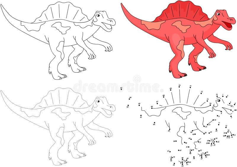 Bande dessinée Spinosaurus Illustration de vecteur Point pour pointiller le jeu illustration libre de droits