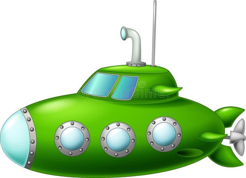 Bande dessinée submersible verte drôle sur le fond blanc illustration libre de droits