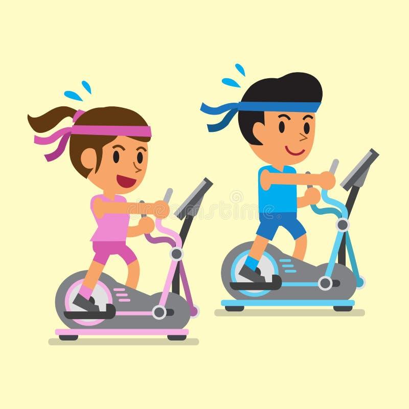 Bande dessinée un homme et une femme s'exerçant sur les machines elliptiques illustration stock
