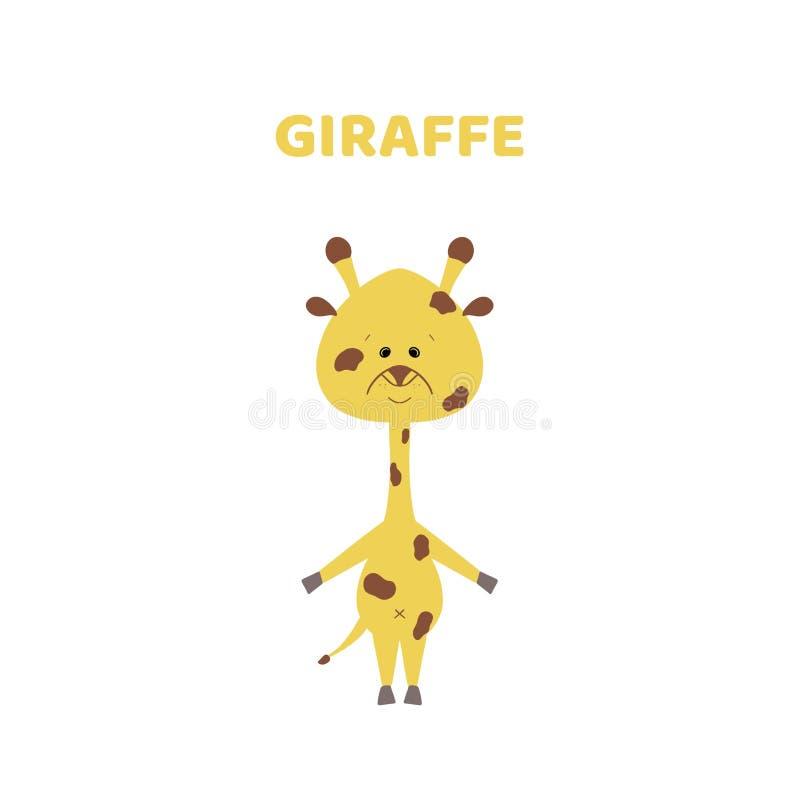 Bande dessinée une girafe mignonne et drôle illustration stock
