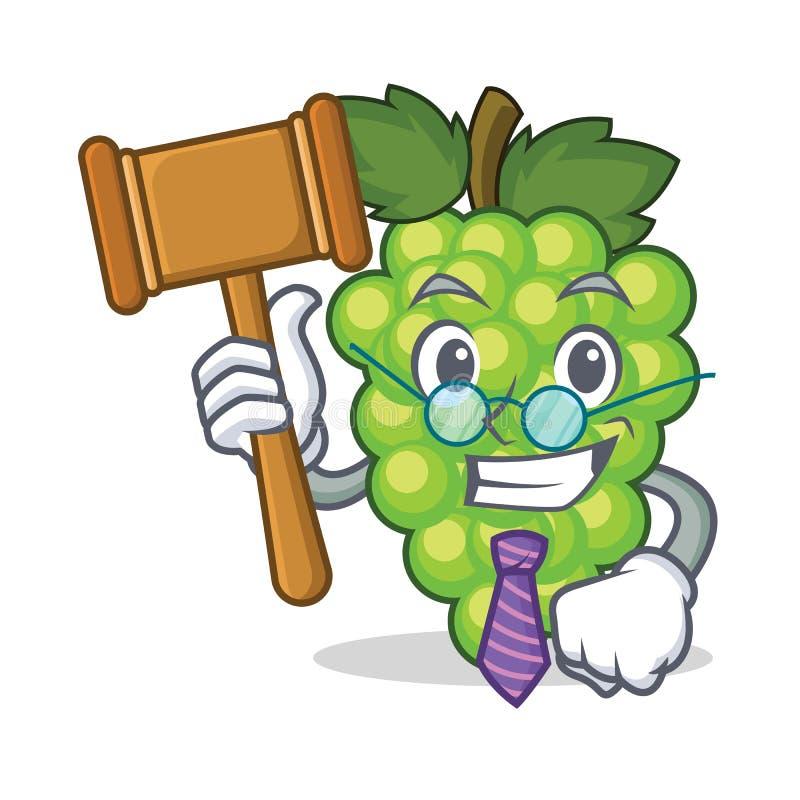 Bande dessinée verte de mascotte de raisins de juge illustration stock