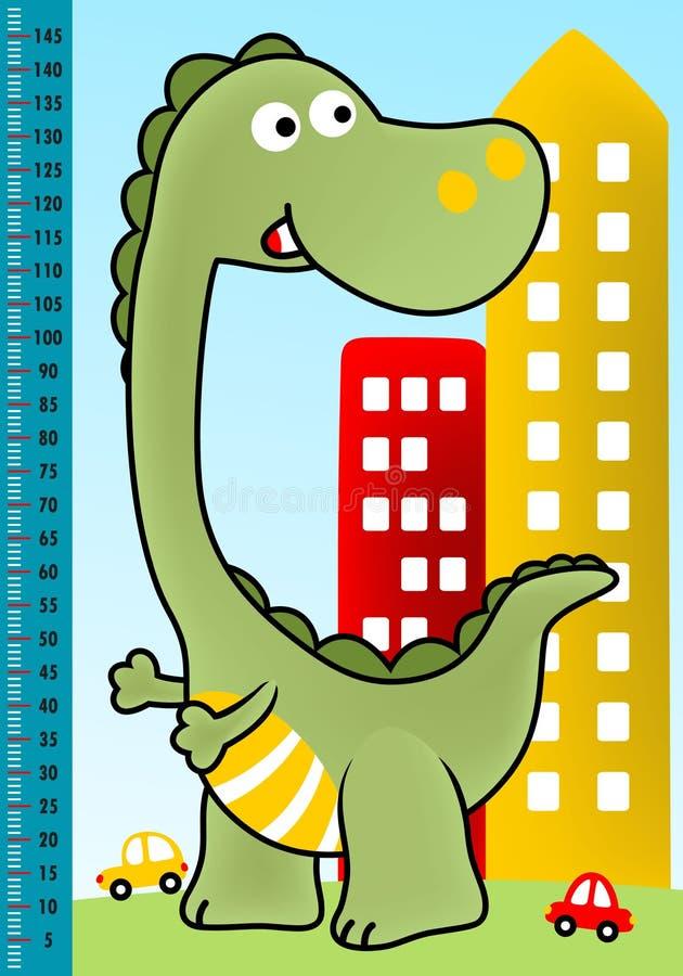 Bande dessinée verte de monstre dans la ville illustration de vecteur