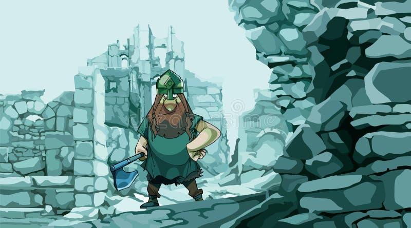 Bande dessinée Viking avec une hache dans les ruines en pierre d'une forteresse illustration stock