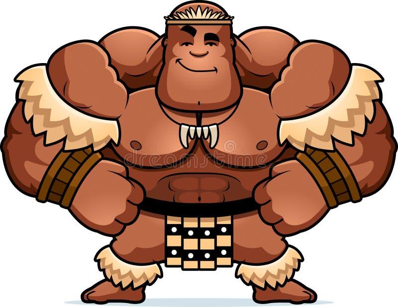 Bande dessinée Zulu Warrior Confident illustration de vecteur