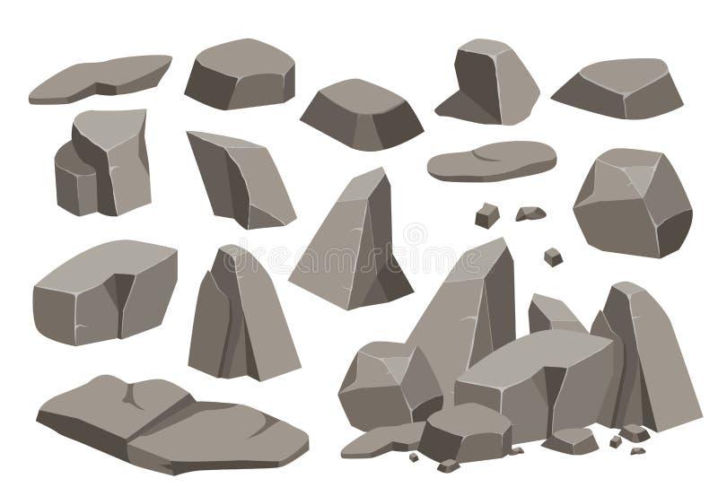 Bande dessin?e en pierre d'ensemble de roche grande illustration de vecteur