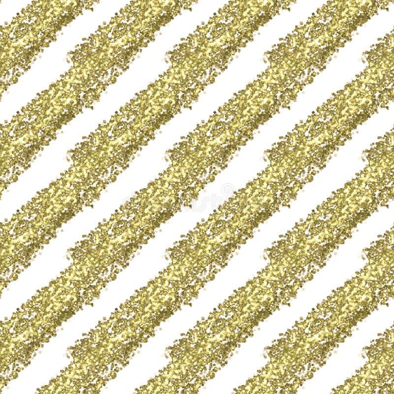 Bande diagonali di scintillio dell'oro su un fondo bianco, modello senza fine senza cuciture illustrazione vettoriale