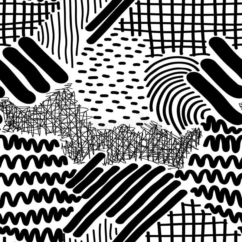 Bande e Dots Vector Seamless Pattern disegnati a mano complessi illustrazione di stock