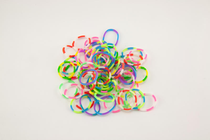 Bande elastiche del telaio dell'arcobaleno su fondo bianco immagini stock libere da diritti