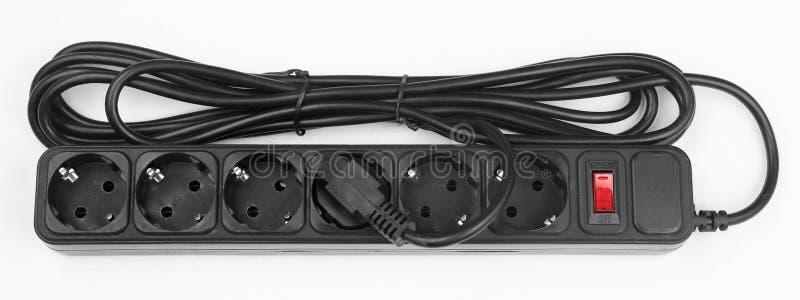Bande en plastique noire de puissance avec 6 débouchés électriques images libres de droits
