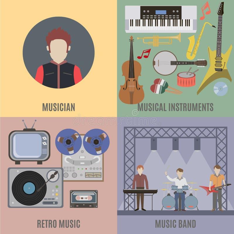 Bande et instruments de musique de musique illustration libre de droits