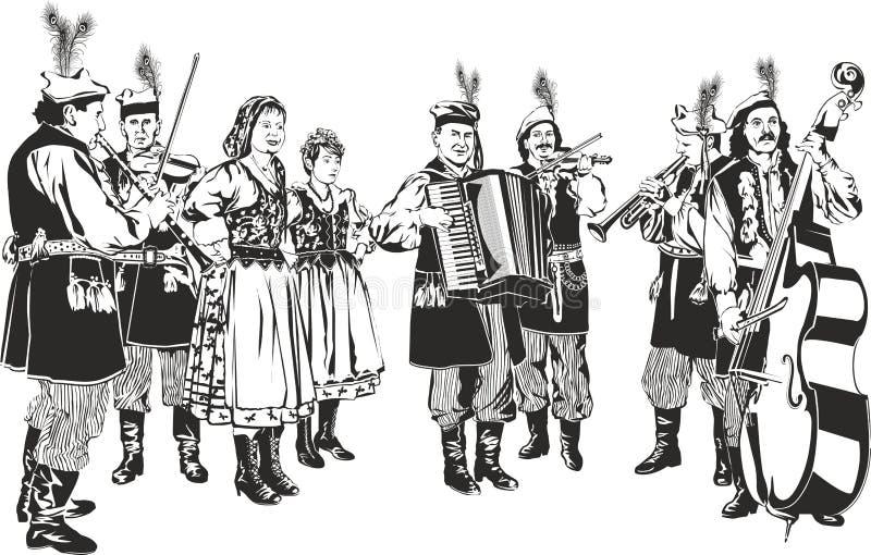 Bande folklorique traditionnelle polonaise illustration de vecteur