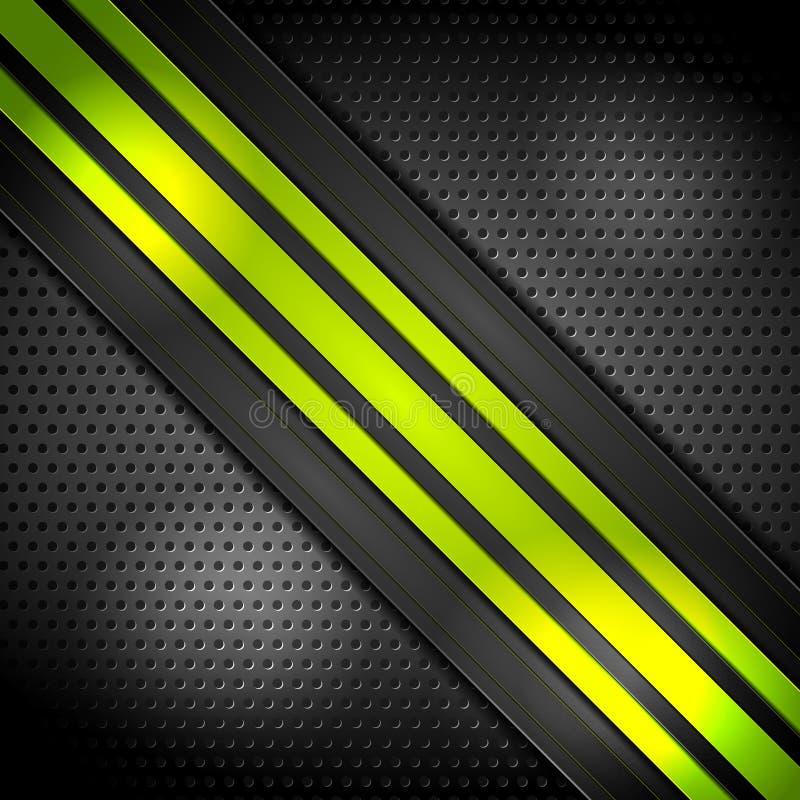 Bande luminose verdi su fondo perforato illustrazione vettoriale