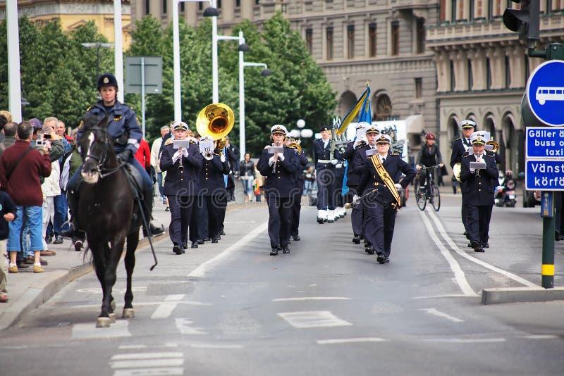 Bande militaire à Stockholm image stock