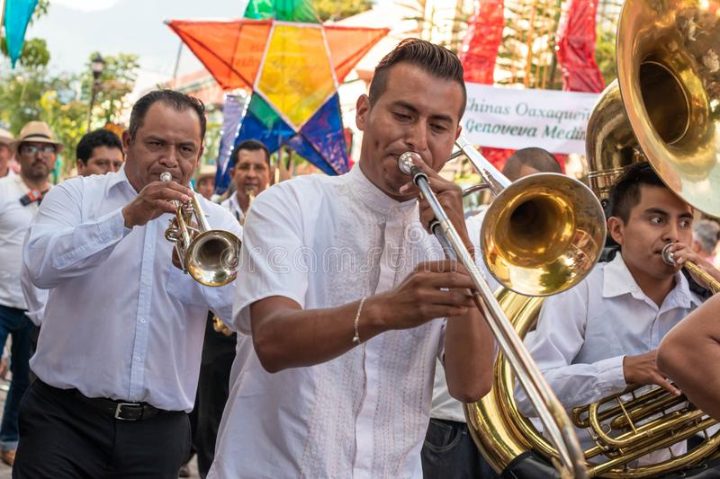 Bande musicale traditionnelle Oaxaca, Mexique photographie stock libre de droits