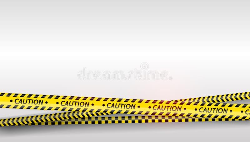 Bande nere e gialle messe Nastri d'avvertimento E La cautela, nastro della barriera, non attraversa, polizia, barriera di scena illustrazione di stock
