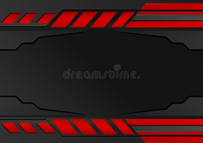 Bande nere e rosse Fondo astratto di vettore con lo spazio della copia per l'affare e la tecnologia, progettazione grafica illustrazione vettoriale