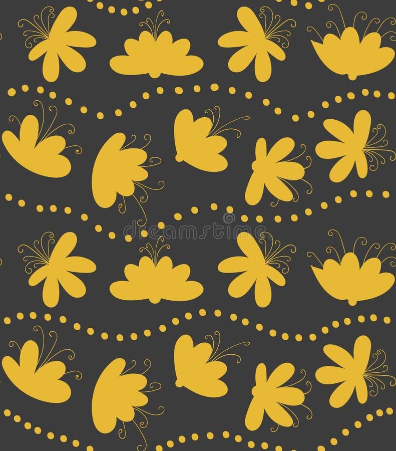 Bande ondulate con il modello senza cuciture di vettore dei fiori illustrazione vettoriale