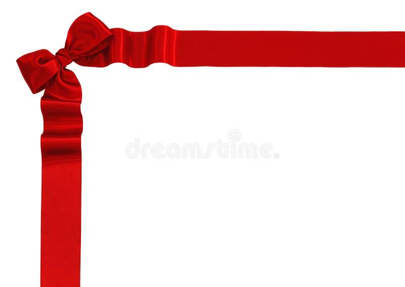 Bande rouge de satin avec la proue photographie stock libre de droits