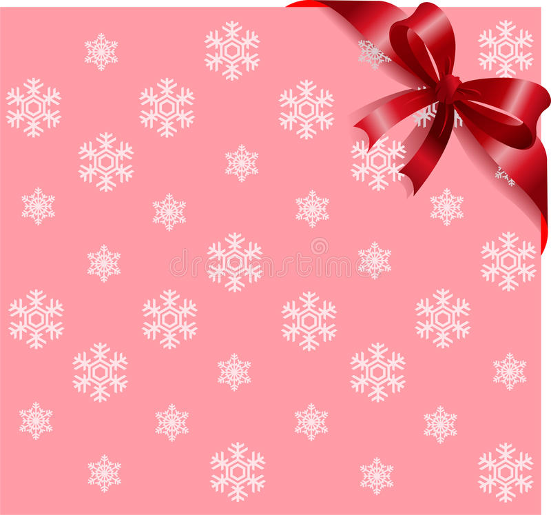 Bande rouge sur le fond rose de flocons de neige illustration stock
