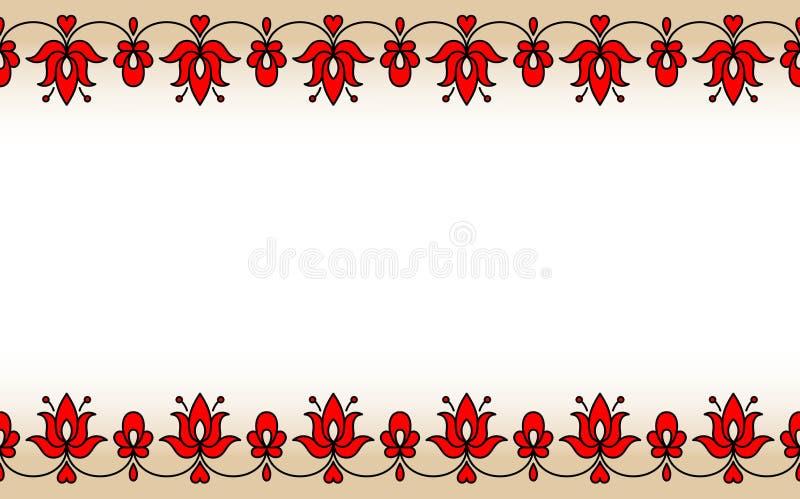 Bande sans couture avec des motifs floraux hongrois traditionnels rouges illustration libre de droits