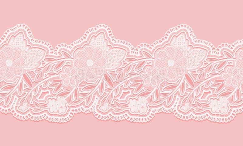 Bande sans couture blanche et rose de dentelle sur le fond rose Frontière sans couture florale pour la conception illustration de vecteur