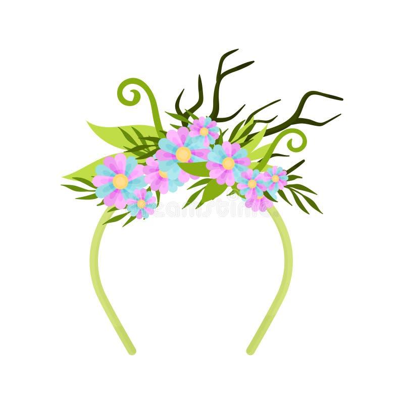Bande verte mince de cheveux avec des branches Illustration de vecteur sur le fond blanc illustration stock