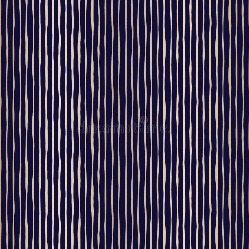 Bande verticali irregolari ondulate disegnate a mano sottili dell'oro sul modello senza cuciture di vettore di Backrgound della m illustrazione di stock
