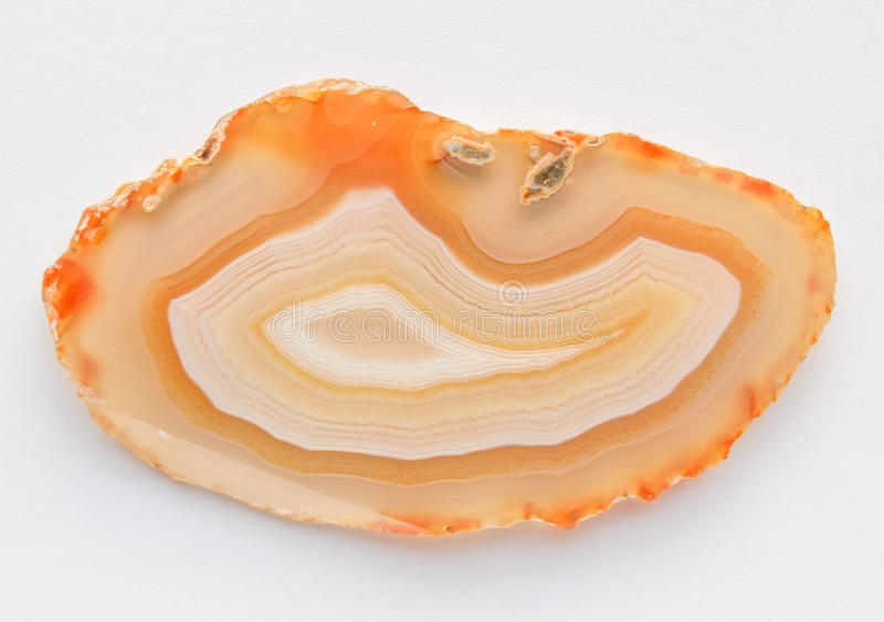 Banded agate. Slice - a microcrystalline variety of silica, chiefly chalcedony, from Mexico royalty free stock photography