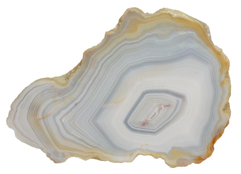 Agate specimen. Banded agate specimen from Australia, isolated on a white background stock photos