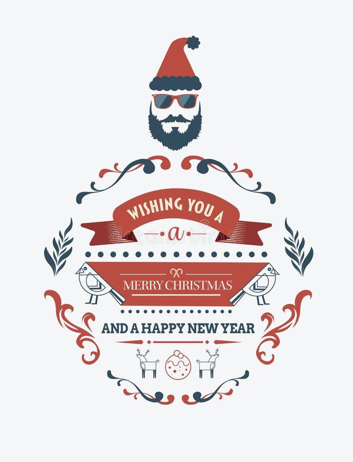 Bandeira à moda da mensagem do Feliz Natal com ilustrações ilustração do vetor