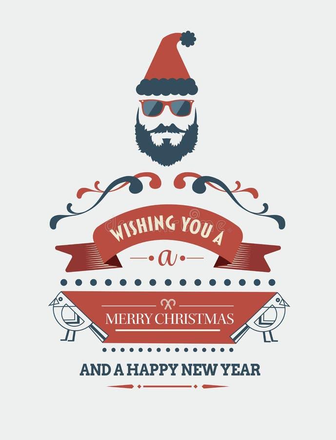 Bandeira à moda da mensagem do Feliz Natal com ilustrações ilustração stock