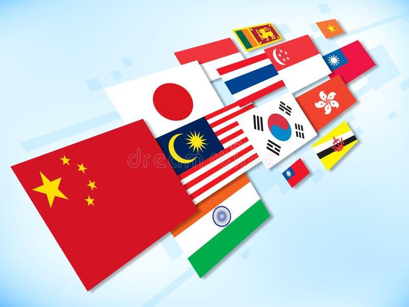 Bandeira-Ásia ilustração do vetor