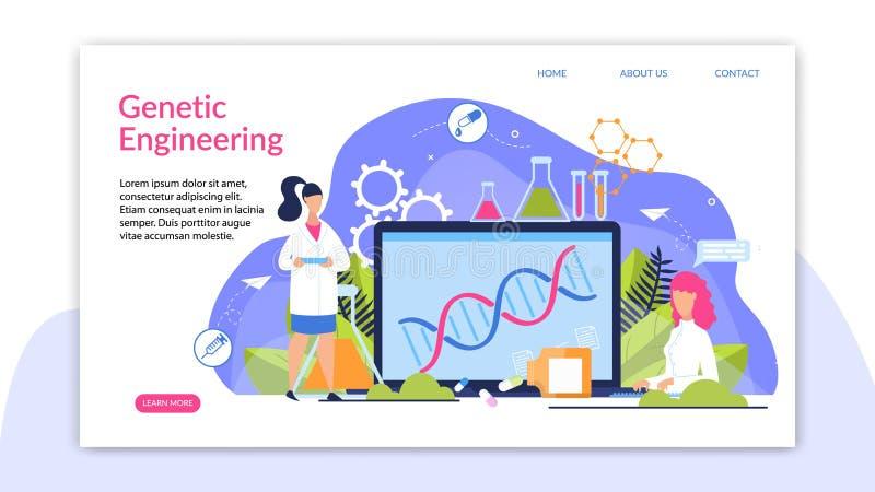 A bandeira é escrita desenhos animados da genética ilustração stock