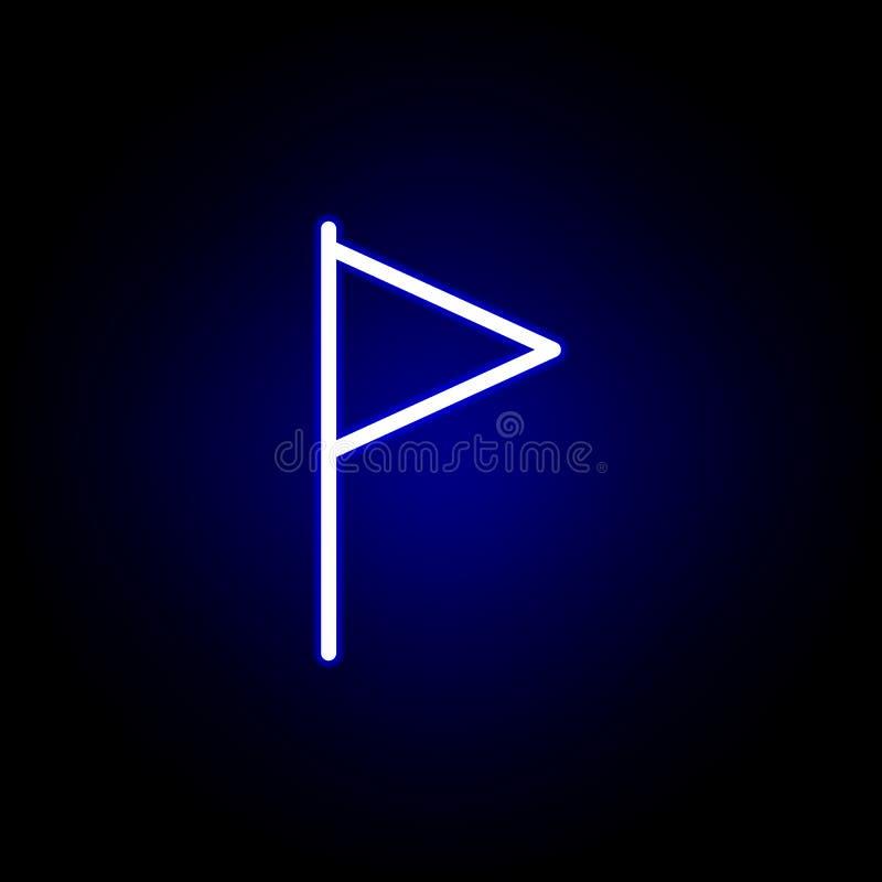 Bandeira, ícone do marcador no estilo de néon Pode ser usado para a Web, logotipo, app m?vel, UI, UX ilustração do vetor