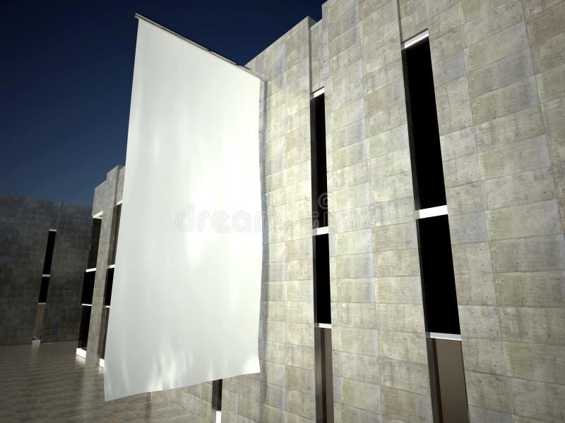 bandeira 3d de anúncio vazia em branco na parede do edifício imagem de stock