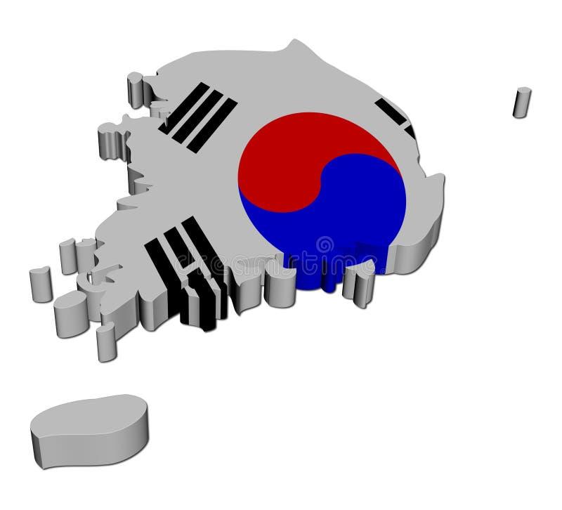 A bandeira 3d do mapa de Coreia do Sul rende ilustração do vetor