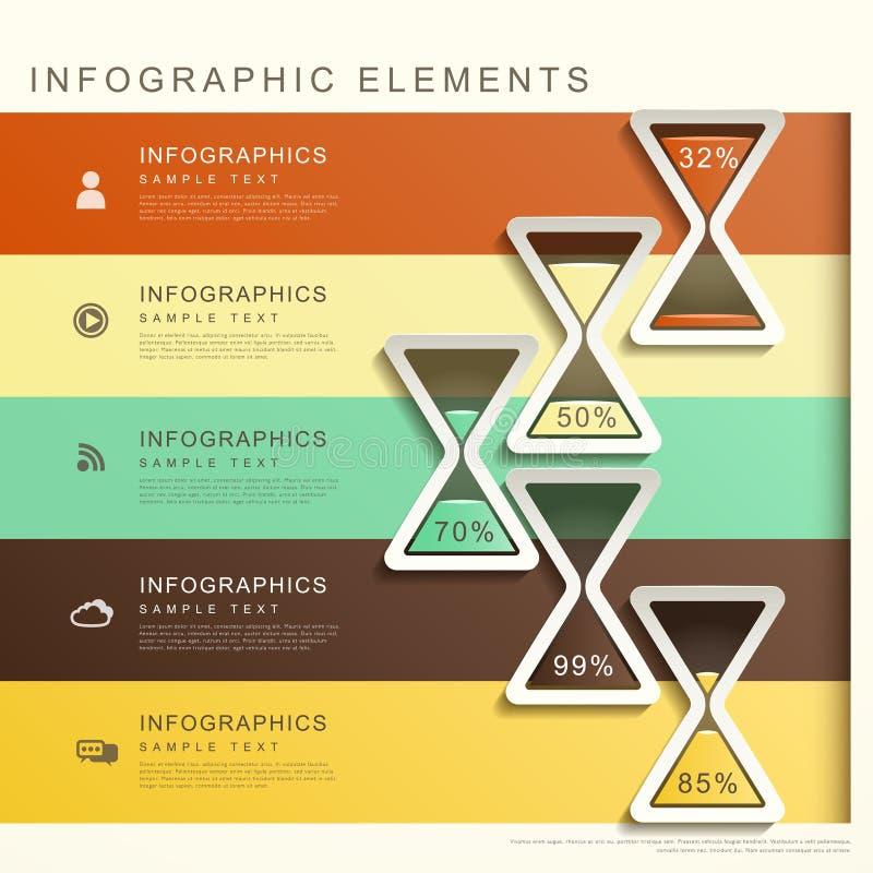 Bandeira abstrata com infographics da ampulheta ilustração do vetor