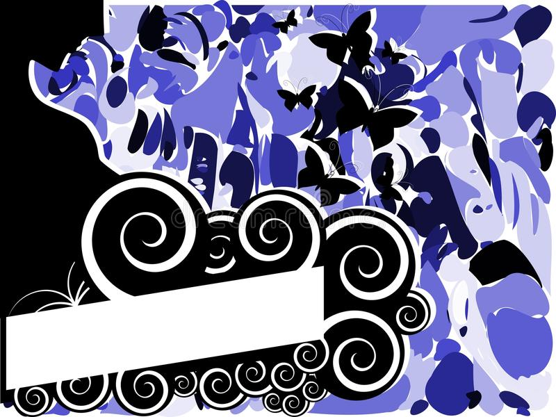 Bandeira abstrata com mulher e borboletas ilustração royalty free