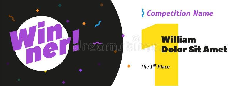 Bandeira abstrata da vitória Número dourado 1 um, lugar do texto ø, fundo branco com espaço para o nome do vencedor e título da c ilustração do vetor